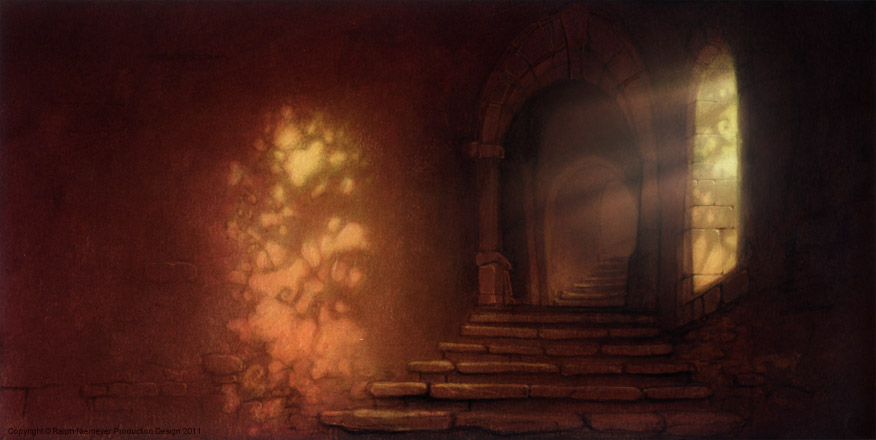 First visual development regarding the rough skript ideas of the feature film projekt 'Happily N'ever After'. Sleeping Beautys castle covered with roses