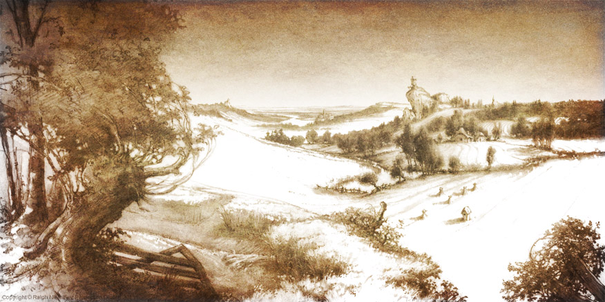 First visual development regarding the rough skript ideas of the feature film projekt 'Happily N'ever After'. Landscape inspired by Breugel's painting `Harvesters´
