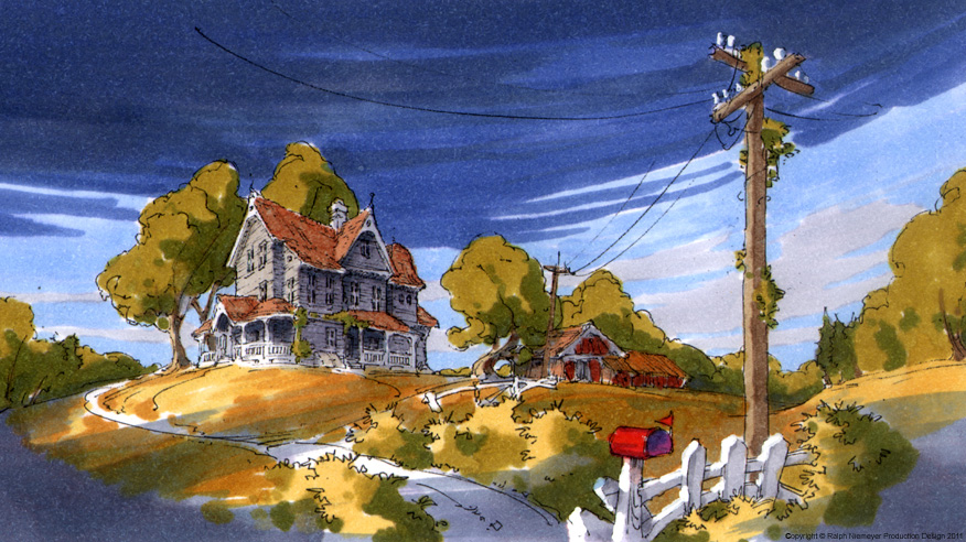 First visual development regarding the rough skript ideas of the feature film projekt 'Happily N'ever After'. Landscape around new england.